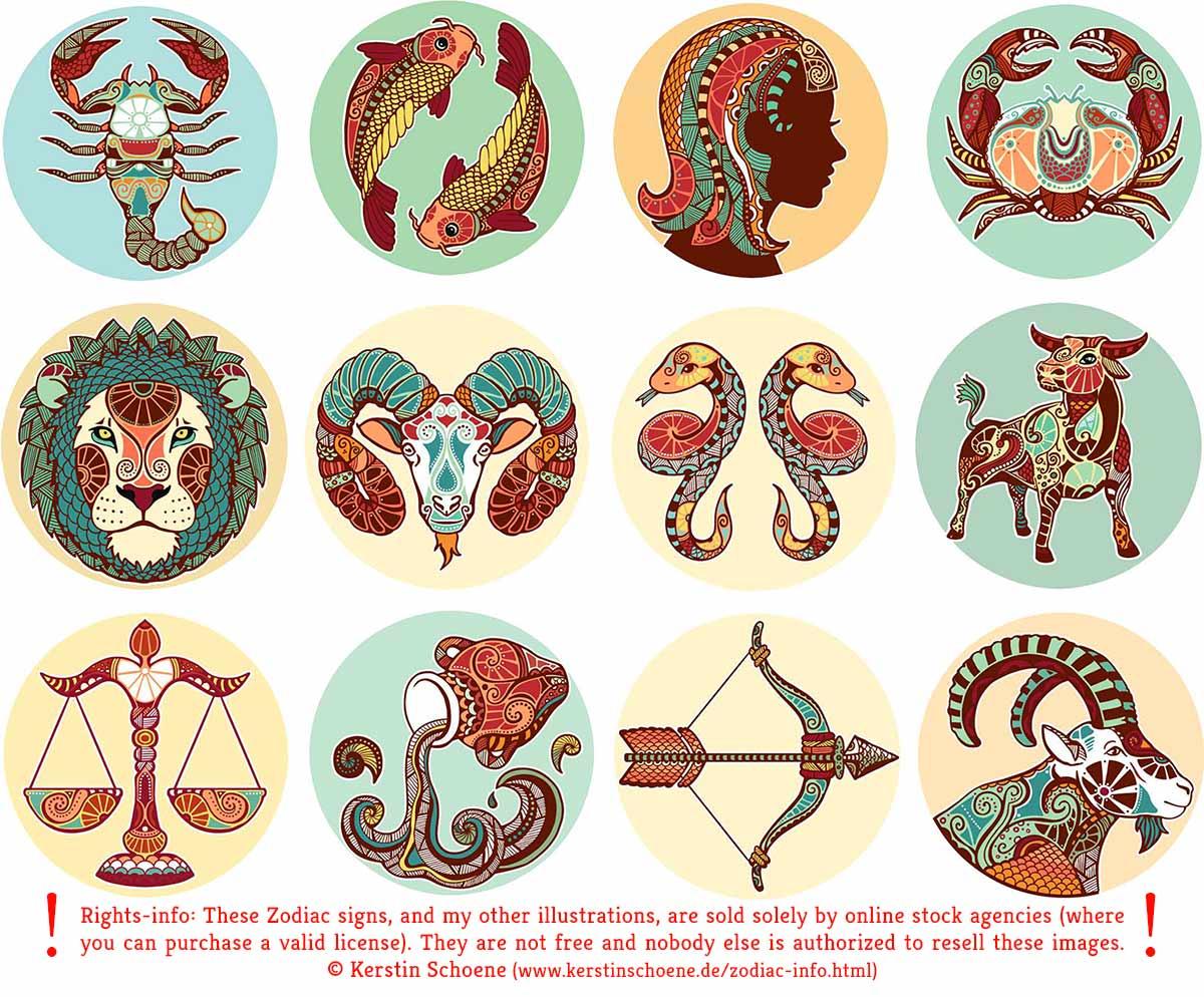 Zodiac vector signs - info